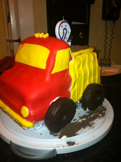 Dump truck cake for R's 2nd birthday
