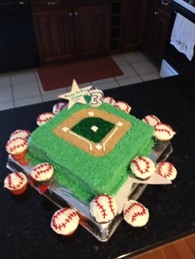 Baseball cupcakes and field cake for #3